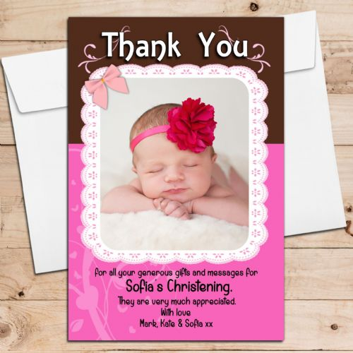 10 Personalised Christening Birthday New Baby Thank you Cards N197 Girls Pink Lace